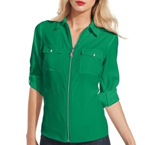 Michael Kors | Green Zip Pocket Blouse
